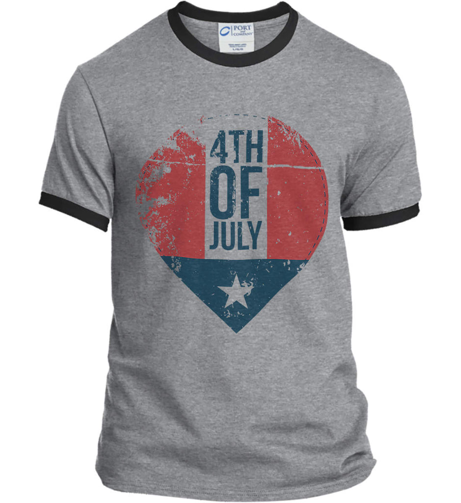 4th of July with Star. Port and Company Ringer Tee.-1