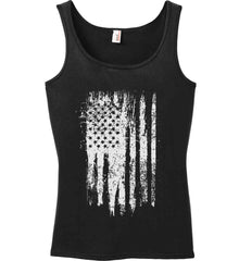 Grungy Grey USA Flag Women's: Anvil Ladies' 100% Ringspun Cotton Tank Top.