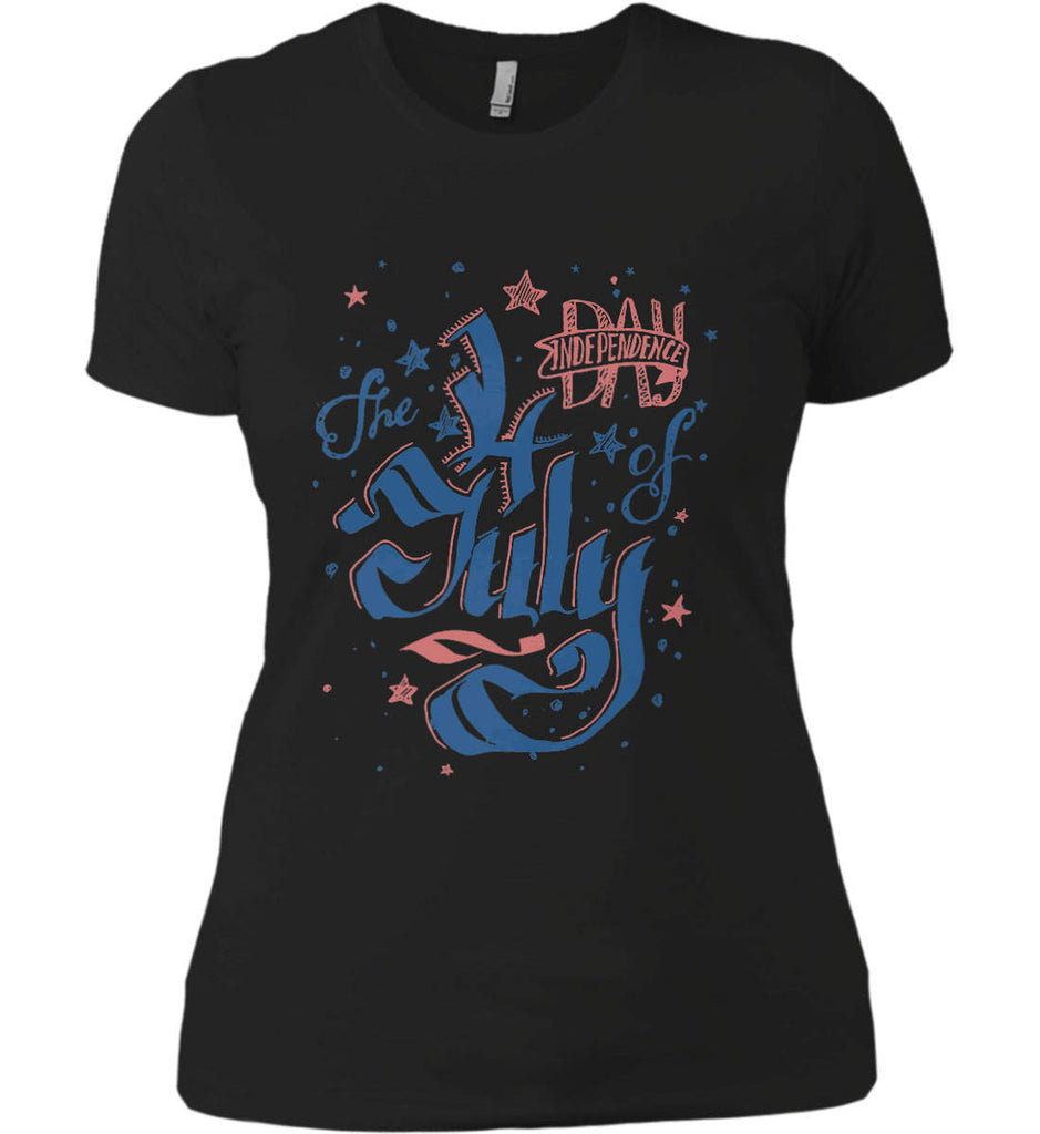 The 4th of July. Ribbon Script. Women's: Next Level Ladies' Boyfriend (Girly) T-Shirt.-3