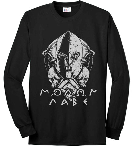 Molon Labe. Spartan. Grey Print. Port & Co. Long Sleeve Shirt. Made in the USA..