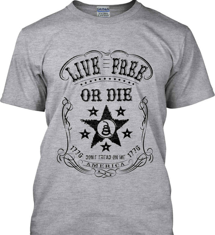 Live Free or Die. Don't Tread on Me. 1776. Black Print. Gildan Ultra Cotton T-Shirt.