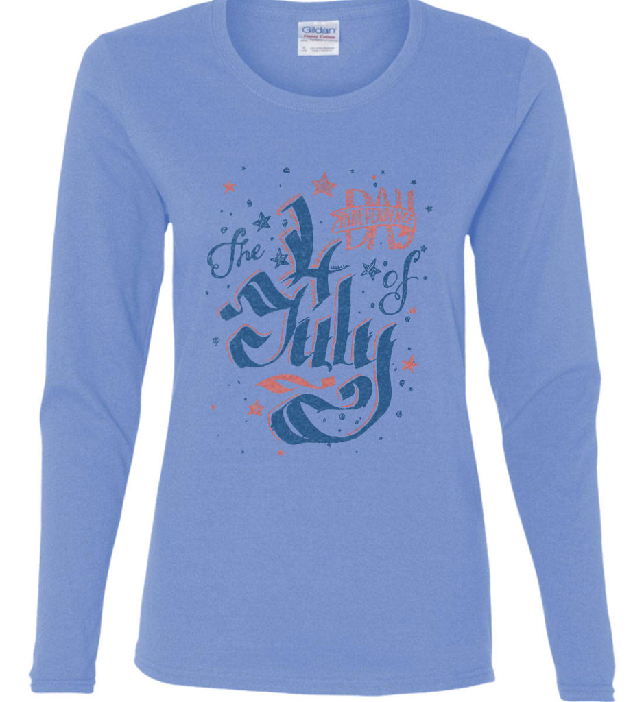 The 4th of July. Ribbon Script. Women's: Gildan Ladies Cotton Long Sleeve Shirt.-2