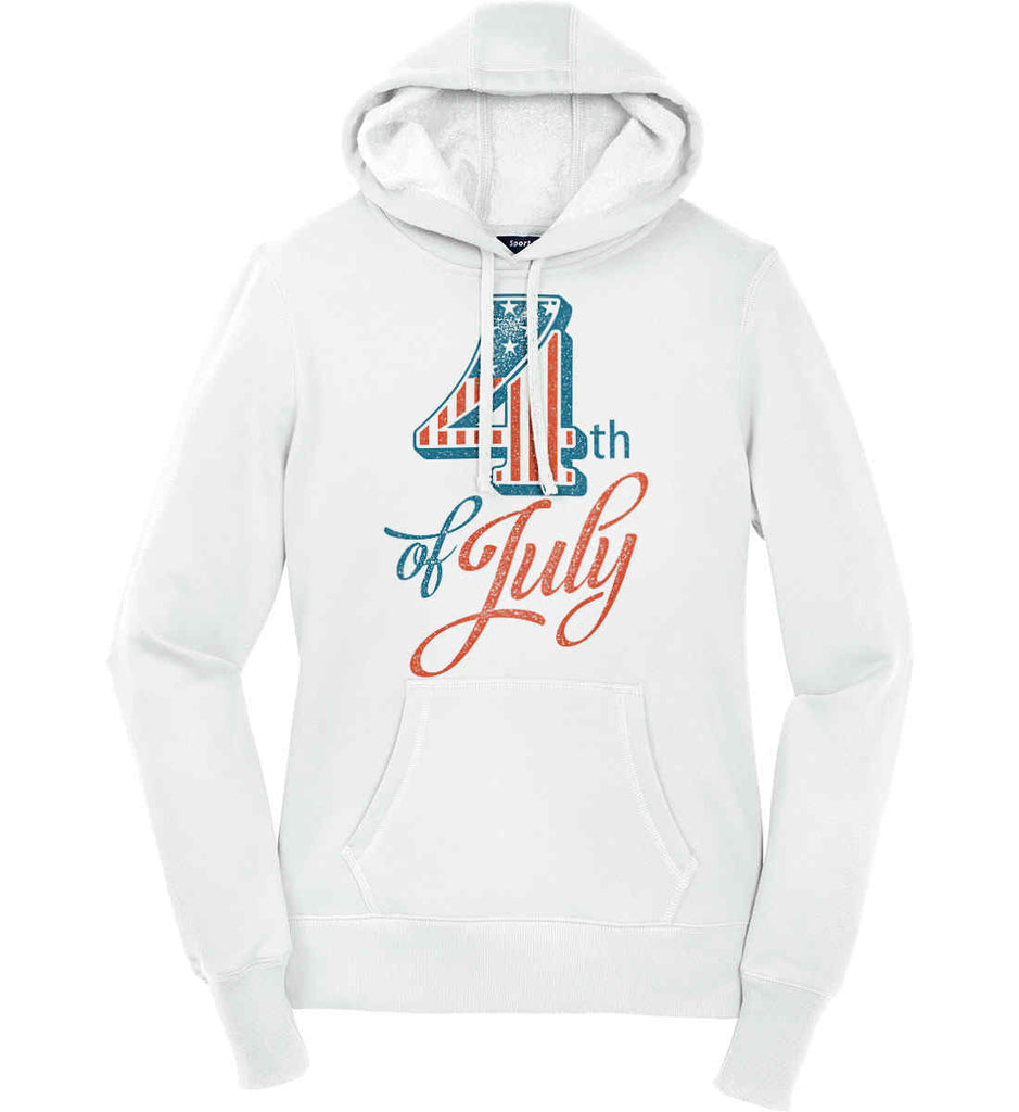 4th of July. Faded Grunge. Women's: Sport-Tek Ladies Pullover Hooded Sweatshirt.-1