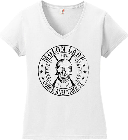 Molon Labe. Come and Take. Skull. Black Print Women's: Anvil Ladies' V-Neck T-Shirt.