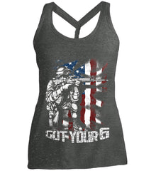 Got Your Six. Soldier Flag. Women's: District Made Ladies Cosmic Twist Back Tank.