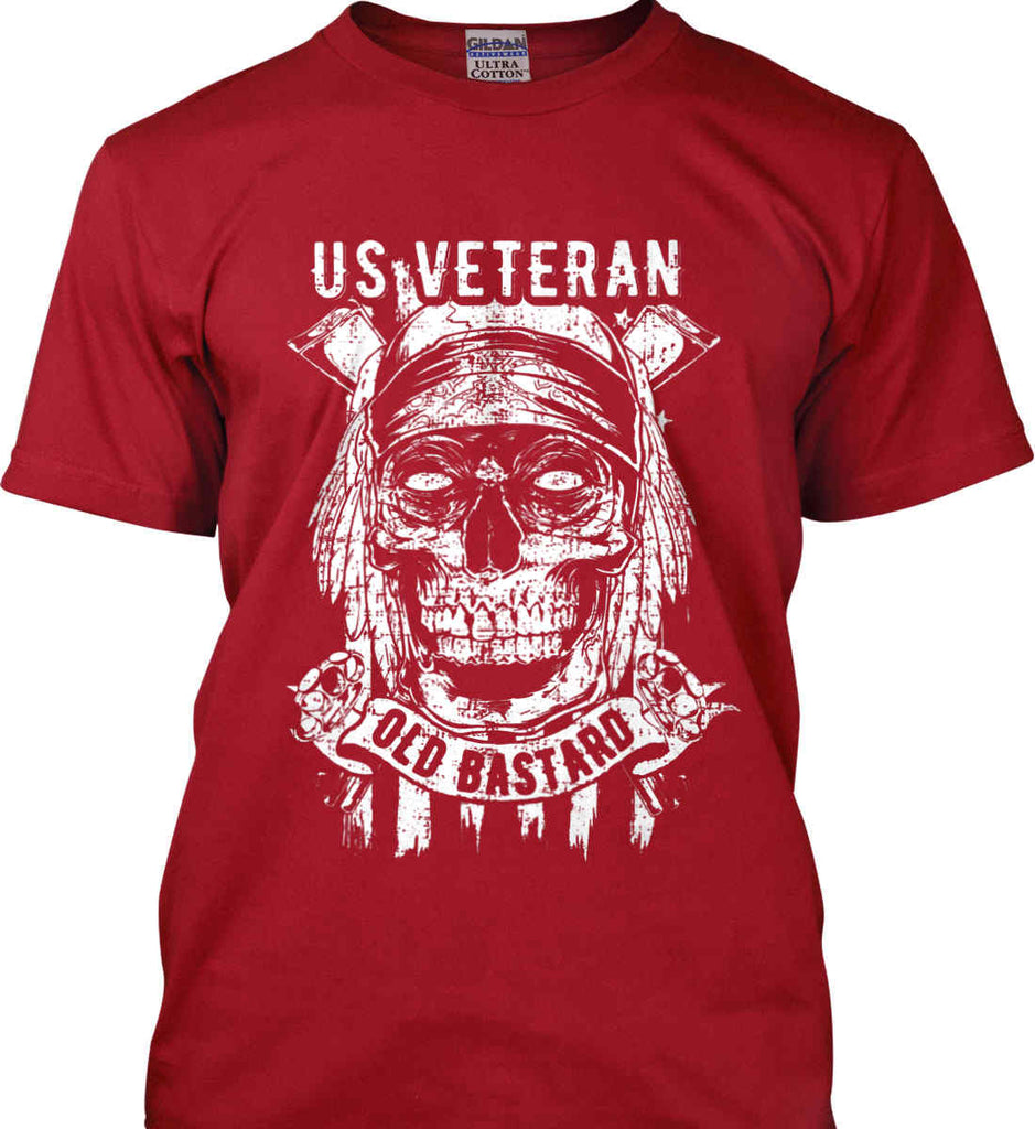 US Veteran. Skull on Flag. White Print. Gildan Ultra Cotton T-Shirt.-4