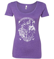 Airborne Division. United States. White Print. Women's: Next Level Ladies' Triblend Scoop.