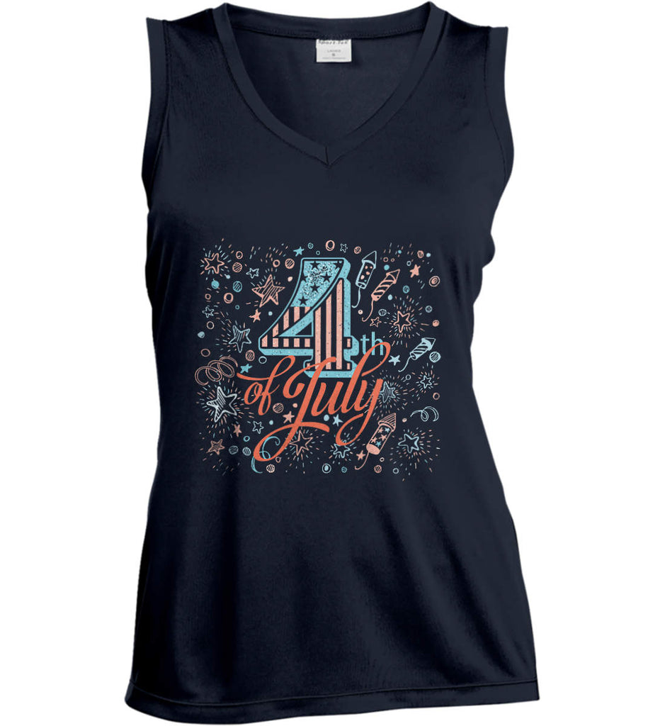 4th of July. Stars and Rockets. Women's: Sport-Tek Ladies' Sleeveless Moisture Absorbing V-Neck.-3