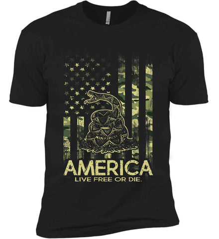 America. Live Free or Die. Don't Tread on Me. Camo. Next Level Premium Short Sleeve T-Shirt.