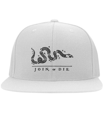Join or Die Black Design Cap. Yupoong Flat Bill Twill Flexfit Cap. (Embroidered)