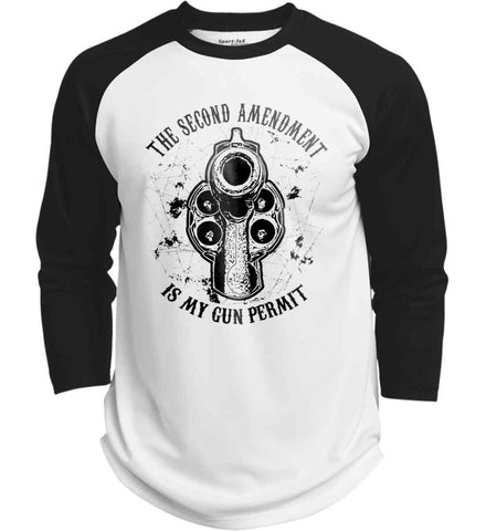 The Second Amendment is my gun permit. Black Print. Sport-Tek Polyester Game Baseball Jersey.