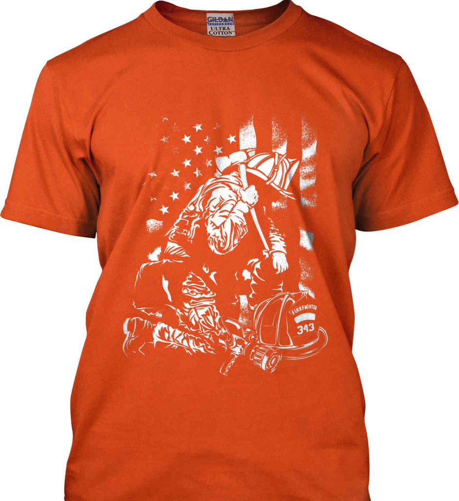Thin Red Line. Kneeling Firefighter Ax. White Print. Gildan Ultra Cotton T-Shirt.-9