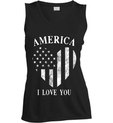 America I Love You White Print. Women's: Sport-Tek Ladies' Sleeveless Moisture Absorbing V-Neck.