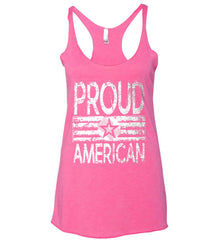 Proud American. Loud and Proud. White Print. Women's: Next Level Ladies Ideal Racerback Tank.