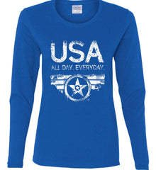 USA All Day Everyday. White Print. Women's: Gildan Ladies Cotton Long Sleeve Shirt.