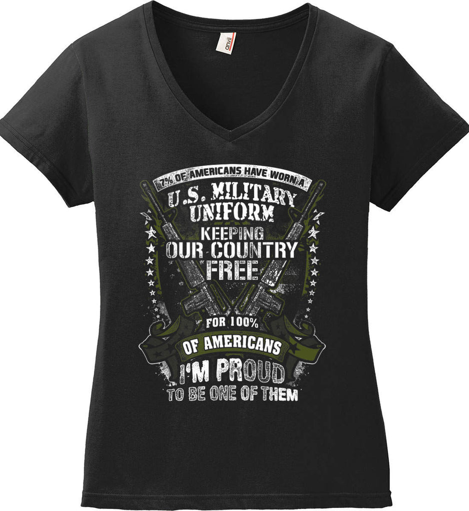 7% of Americans Have Worn a Military Uniform. I am proud to be one of them. Women's: Anvil Ladies' V-Neck T-Shirt.-1