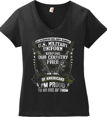 7% of Americans Have Worn a Military Uniform. I am proud to be one of them. Women's: Anvil Ladies' V-Neck T-Shirt.