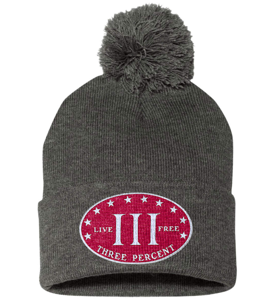 Three Percenter. Live Free. Hat. Sportsman Pom Pom Knit Cap. (Embroidered)-3