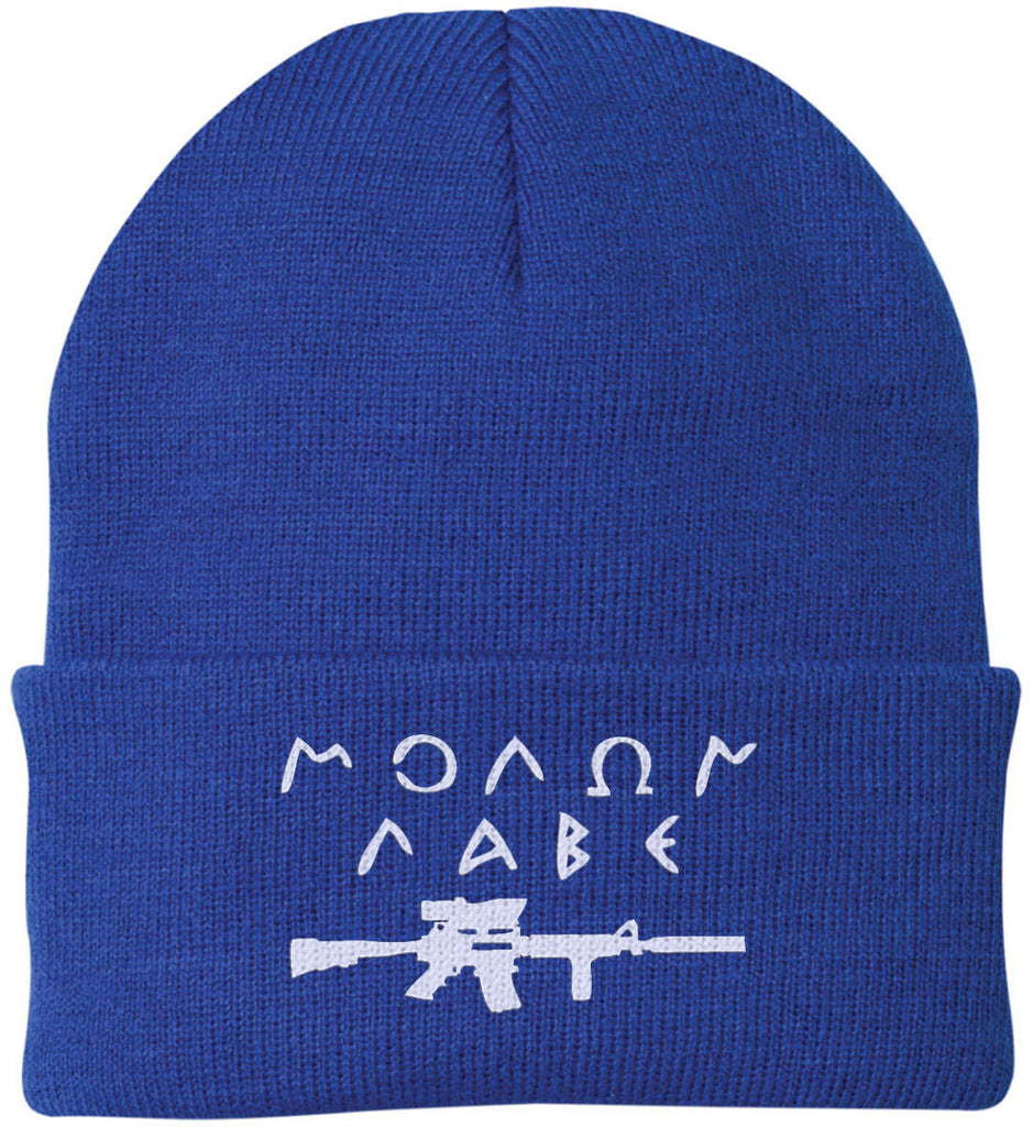 Molon Labe Rifle Hat. Port Authority Knit Cap. (Embroidered)-10