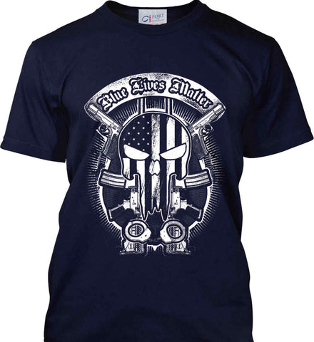 Blue Lives Matter. Punisher Skull. Port & Co. Made in the USA T-Shirt.