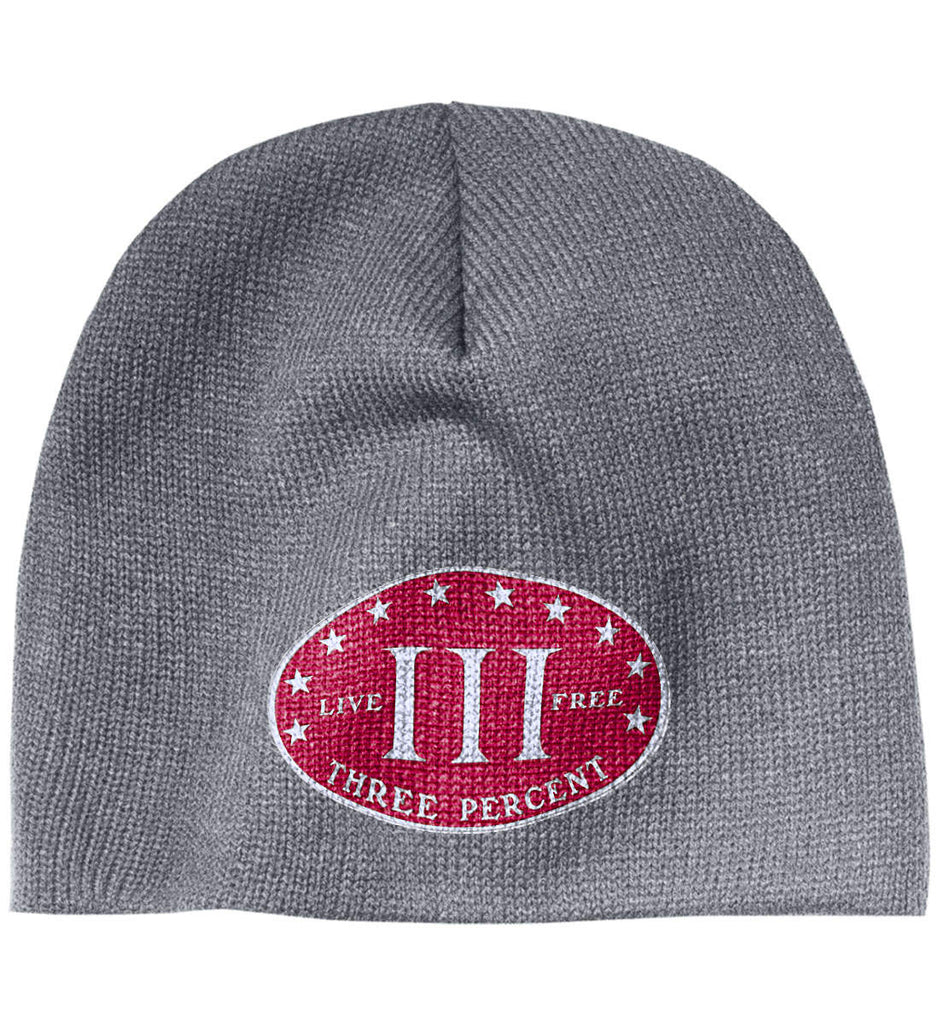 Three Percenter. Live Free. Hat. 100% Acrylic Beanie. (Embroidered)-2
