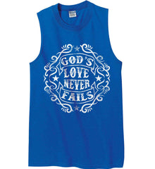 God's Love Never Fails. Gildan Men's Ultra Cotton Sleeveless T-Shirt.