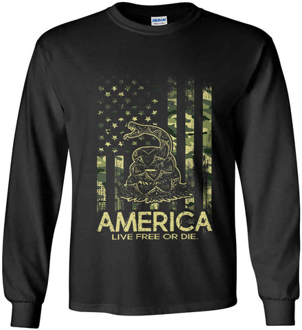America. Live Free or Die. Don't Tread on Me. Camo. Gildan Ultra Cotton Long Sleeve Shirt.