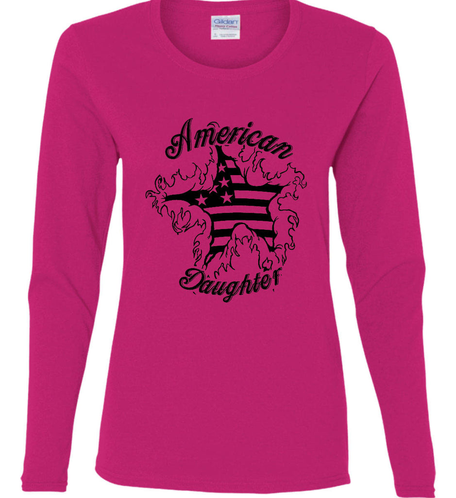 American Daughter. Women's Patriot Design. Women's: Gildan Ladies Cotton Long Sleeve Shirt.-1