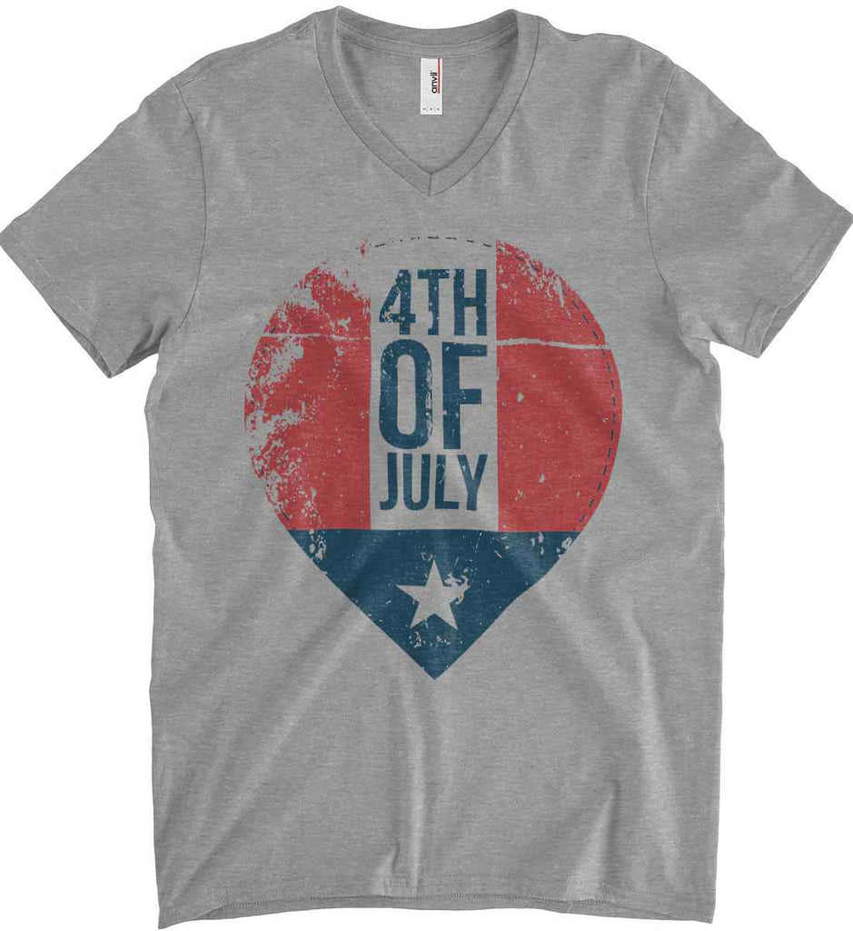 4th of July with Star. Anvil Men's Printed V-Neck T-Shirt.-2
