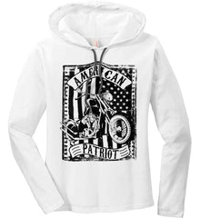American Patriot - Flag/Rider. Black Print. Women's: Anvil Ladies' Long Sleeve T-Shirt Hoodie.