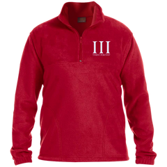 Three Percent Symbol with Text. White. Harriton 1/4 Zip Fleece Pullover. (Embroidered)