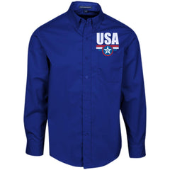 USA. Star-Shield. Red, White, Blue. Port Authority Men's LS Dress Shirt. (Embroidered)