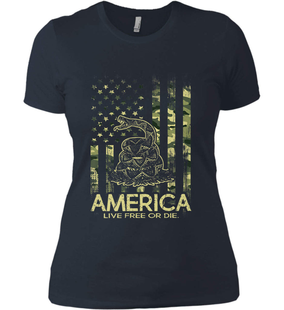 America. Live Free or Die. Don't Tread on Me. Camo. Women's: Next Level Ladies' Boyfriend (Girly) T-Shirt.-2
