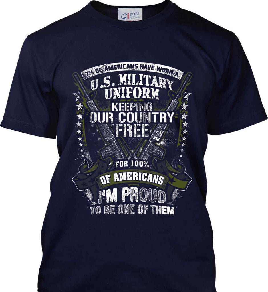 7% of Americans Have Worn a Military Uniform. I am proud to be one of them. Port & Co. Made in the USA T-Shirt.-2