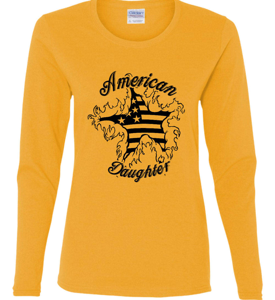 American Daughter. Women's Patriot Design. Women's: Gildan Ladies Cotton Long Sleeve Shirt.-4