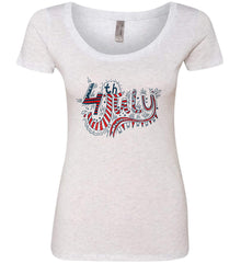 July 4th Red, White and Blue. Women's: Next Level Ladies' Triblend Scoop.