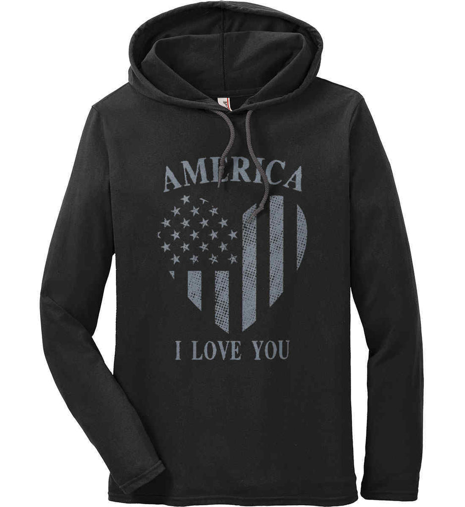 America I Love You Anvil Long Sleeve T-Shirt Hoodie.-1