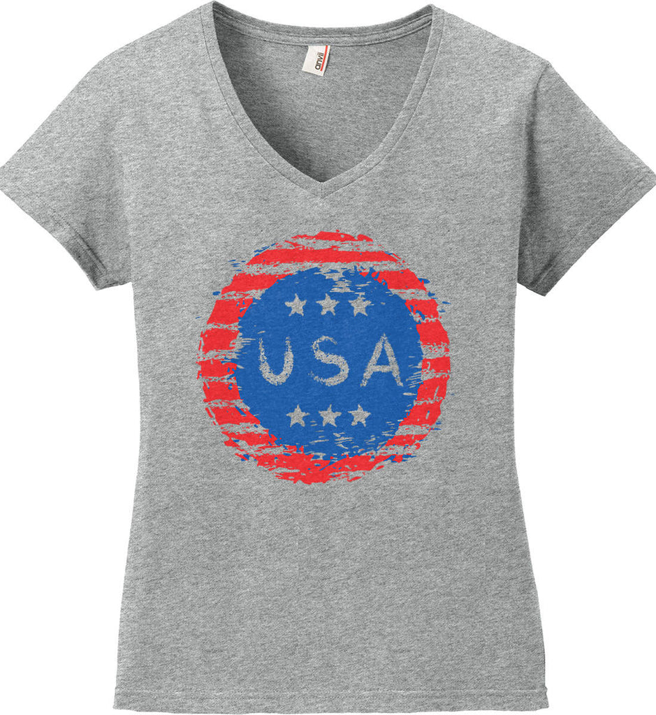 Grungy USA. Women's: Anvil Ladies' V-Neck T-Shirt.-1