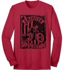 American Patriot - Flag/Rider. Black Print. Port & Co. Long Sleeve Shirt. Made in the USA..