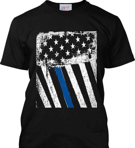 The Blue Line. American Flag. Port & Co. Made in the USA T-Shirt.