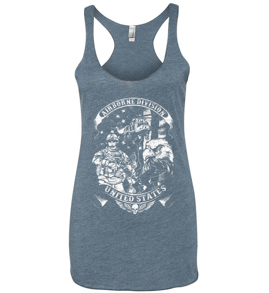 Airborne Division. United States. White Print. Women's: Next Level Ladies Ideal Racerback Tank.-11