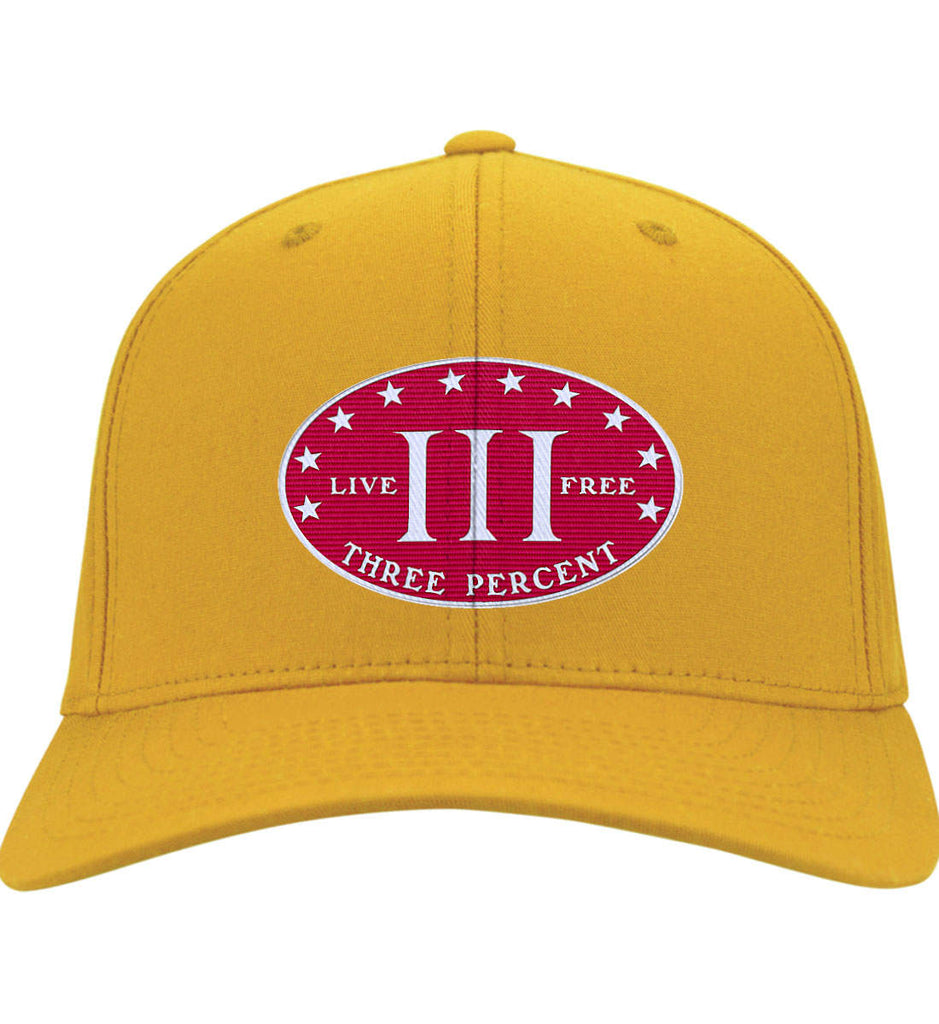 Three Percenter. Live Free. Hat. Port & Co. Twill Baseball Cap. (Embroidered)-10