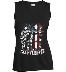 Got Your Six. Soldier Flag. Women's: Sport-Tek Ladies' Sleeveless Moisture Absorbing V-Neck.