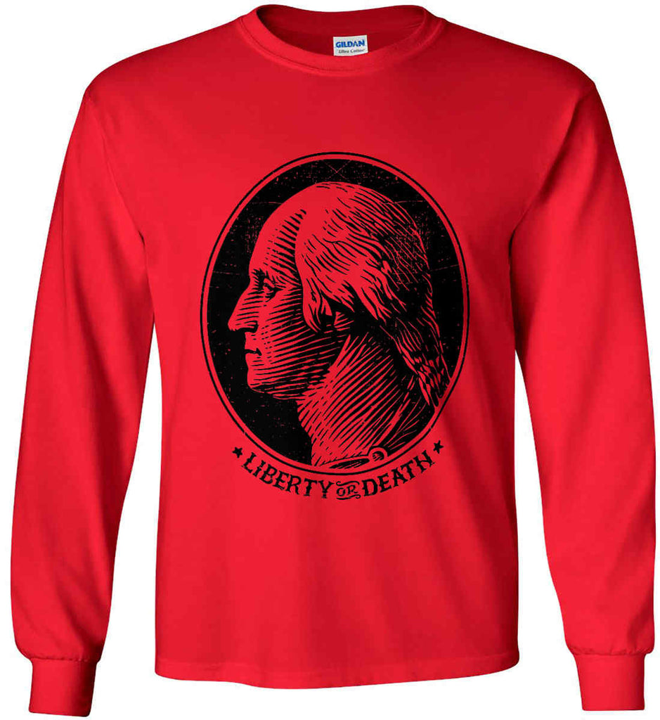 George Washington Liberty or Death. Black Print Gildan Ultra Cotton Long Sleeve Shirt.-4