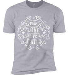 God's Love Never Fails. Next Level Premium Short Sleeve T-Shirt.