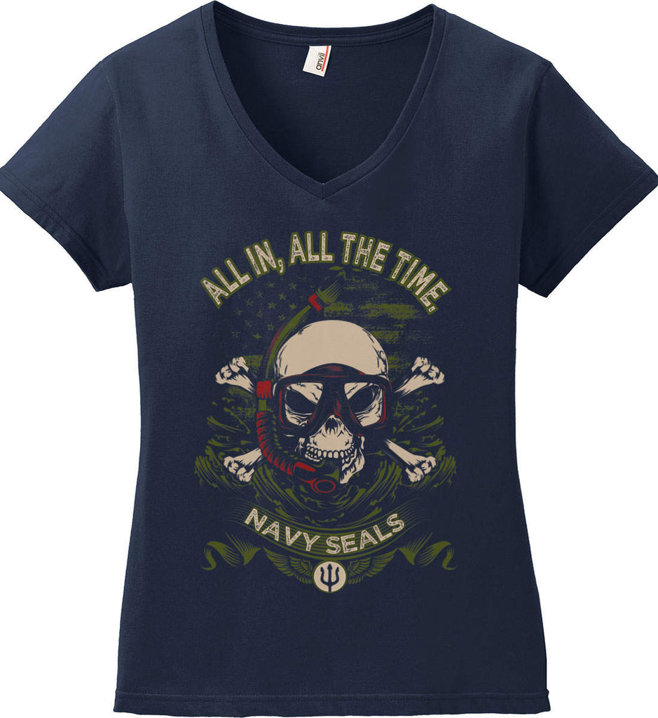 All In, All The Time. Navy Seals. Women's: Anvil Ladies' V-Neck T-Shirt.-2