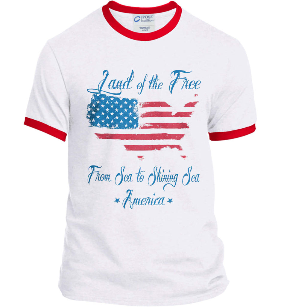 Land of the Free. From sea to shining sea. Port and Company Ringer Tee.-2