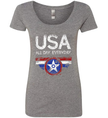USA All Day Everyday. Women's: Next Level Ladies' Triblend Scoop.