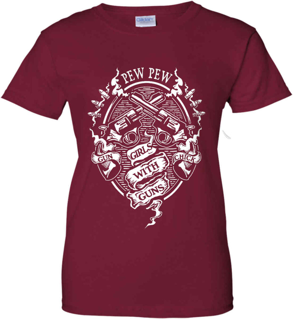 Pew Pew. Girls with Guns. Gun Chick. Women's: Gildan Ladies' 100% Cotton T-Shirt.-2