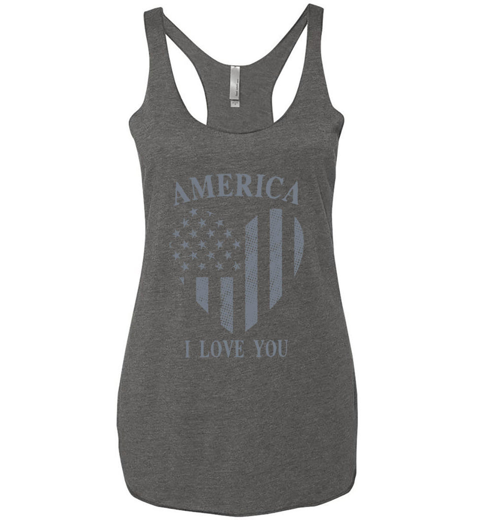 America I Love You Women's: Next Level Ladies Ideal Racerback Tank.-3